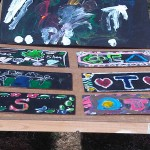 Photo of canal boat style paintings by children