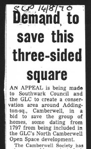Press cutting entitled Demand to save this 3-sided square