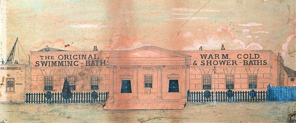 Ink and watercolour sketch showing the grand classical single-storey frontage