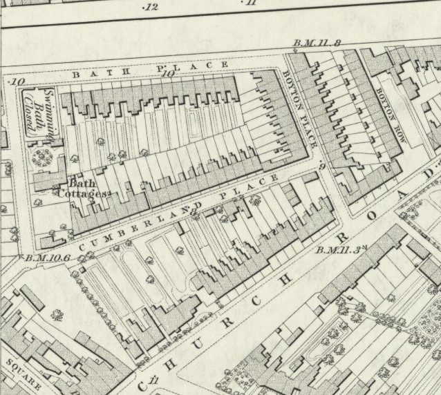 Ordnance Survey map around 1850,  (somehow always on the edge of the sheet)