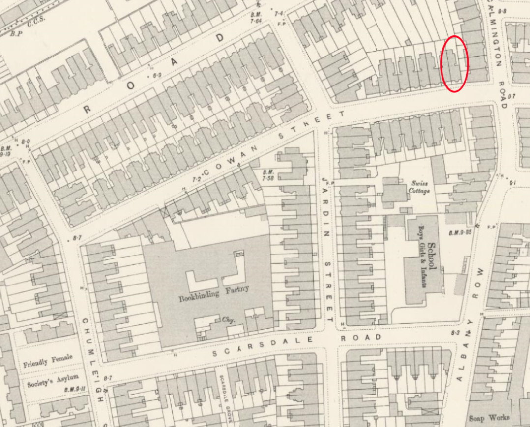Street map showing houses and factories, with Ken's house ringed in red