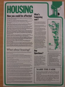 Newsletter dealing with concerns over re-housing and the Name the Park competition