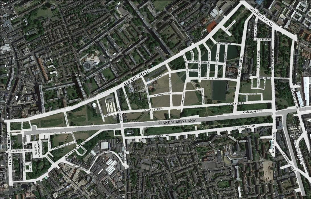 Satellite view of 2015, with 1895 street plan