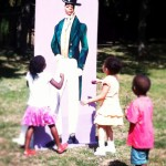 Photo of children and cutout 1810 gentleman