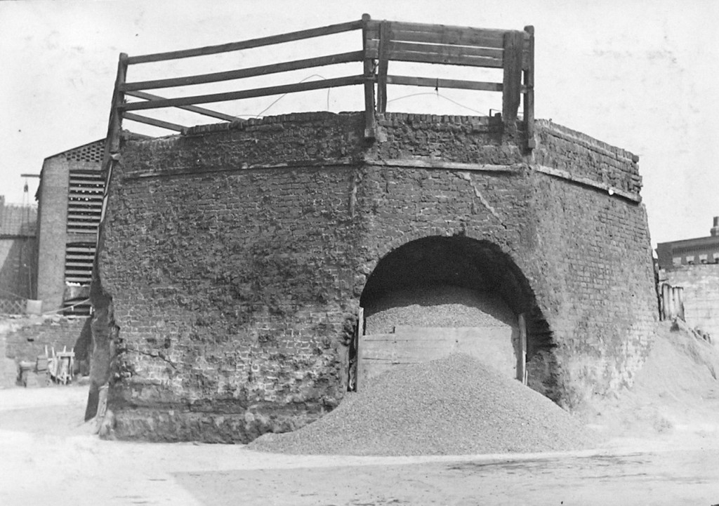 Brick Lime kiln with wooden railings on top