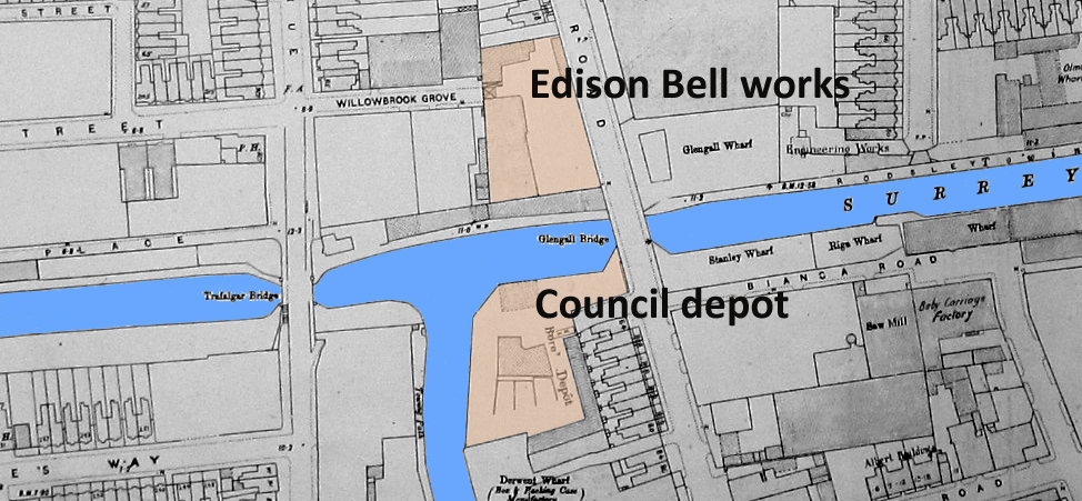 Map shows canal in blue and loacations of Council refuse depot and Edison Bell works