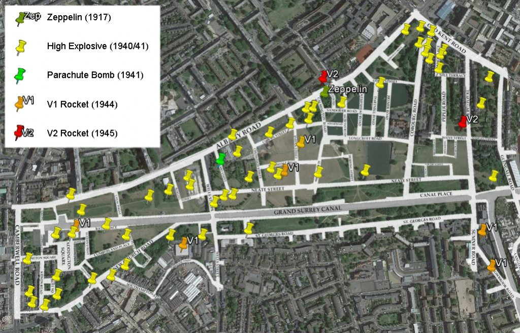 Map showing known bombs sites in the Park area from both wars