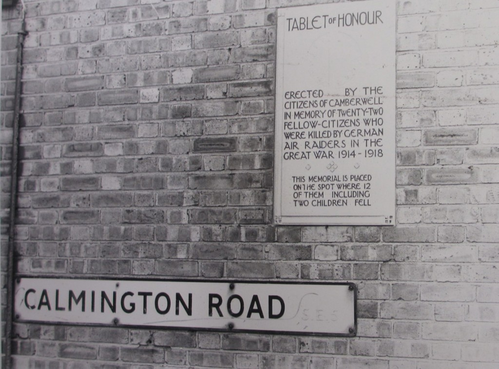 Tablet of Honour with Calimington Road sign - both attached to a brick wall - both now gone