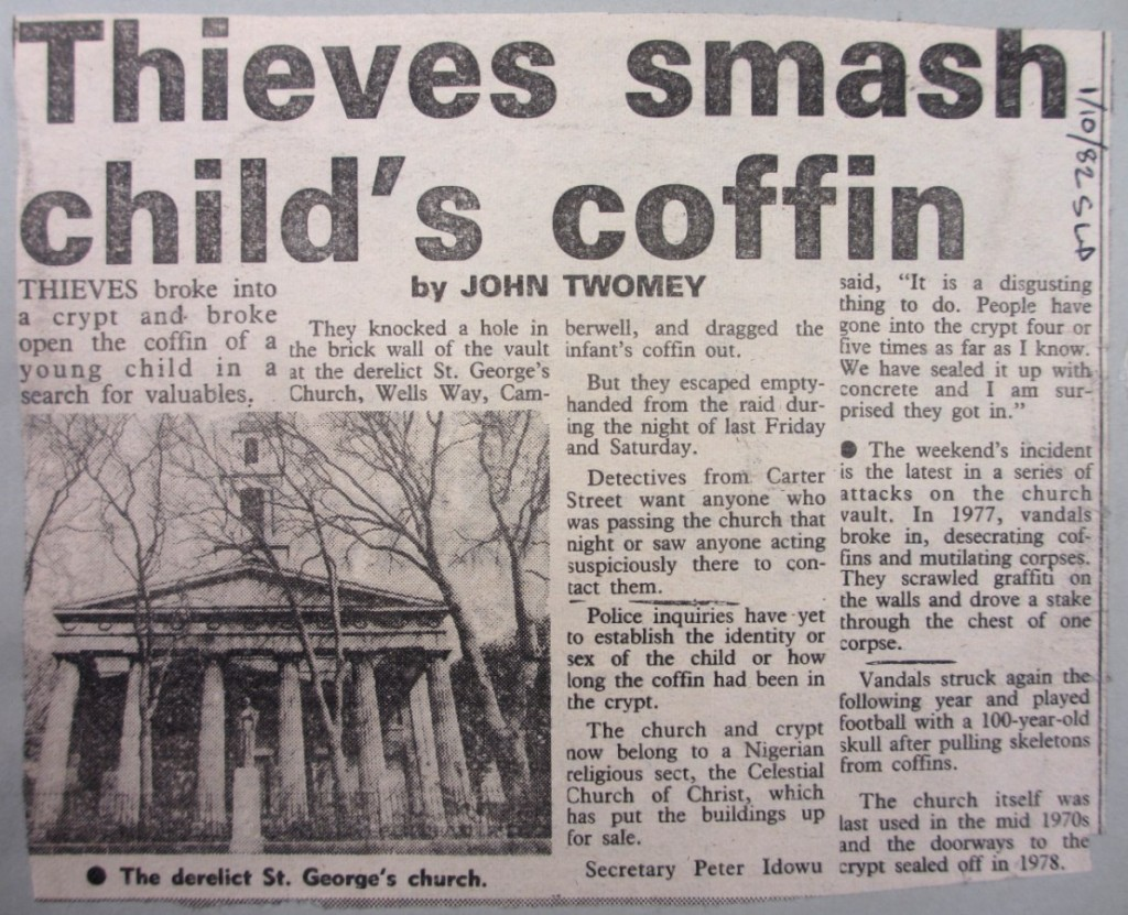 Headline - 'Theives smash child's coffin'