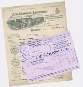 Invoice and letter, 1925/6, showing elaborate graphics of the factory along the top, with logos and trademarks down the left