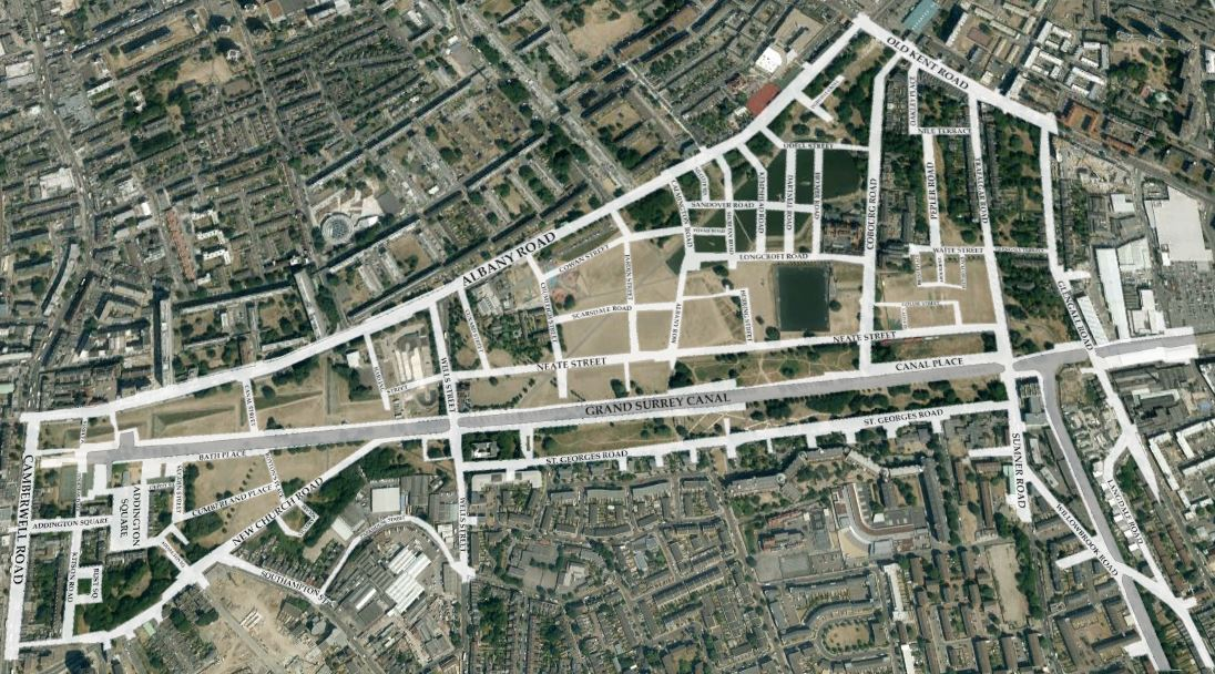 Satellite view of Burgess park with superimposed streets