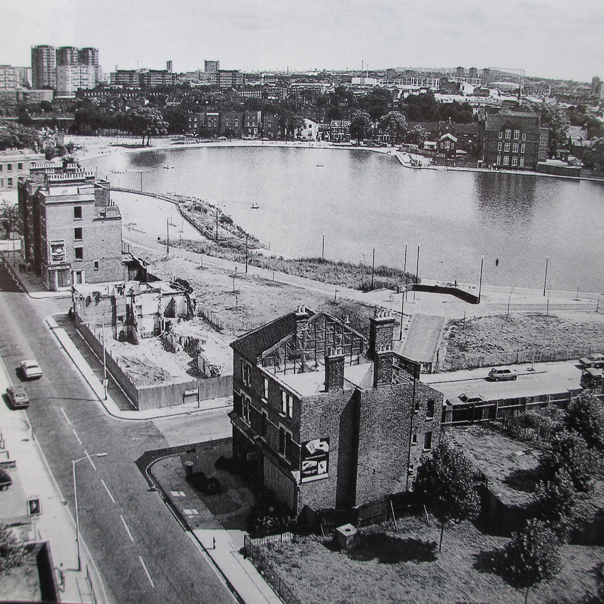old photo of the lake being created