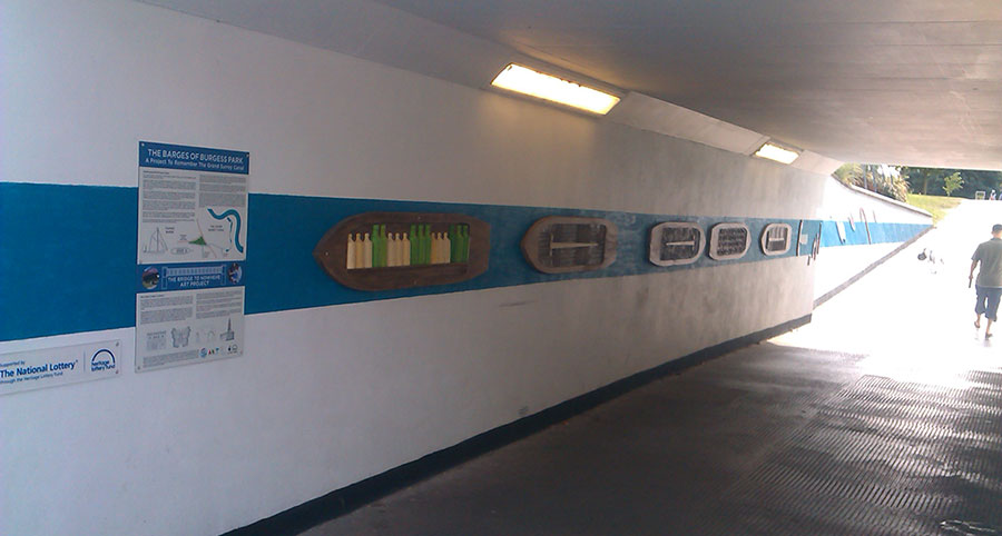Photo of the barge plaques in the  underpass