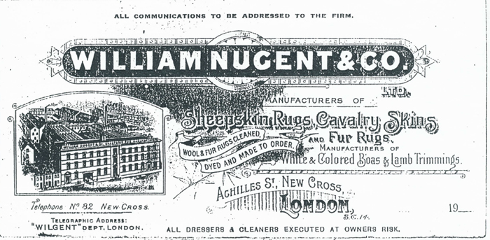 """William Nugent and Co Ltd letterhead showing engraving of the factory from the air, Tlephone 83 New Cross, Telegraph: """"Wilgent""""."""