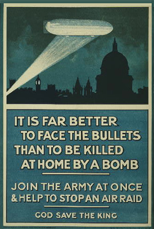 Poster showing a dirigible in the night sky over London