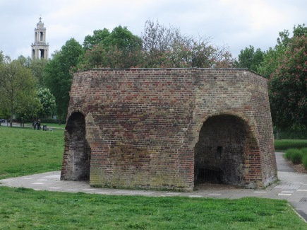 Colour photo of kiln in park today, church in background