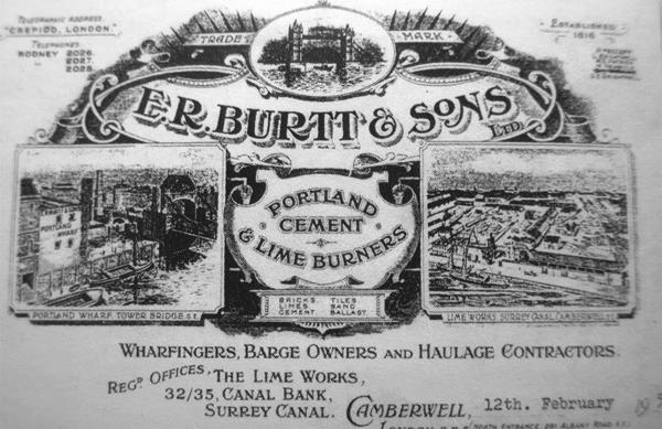 Elaborate printed letterhead of E R Burtt & Sons