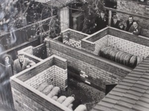 1942 photo viewing piggery, pigs & owners from above