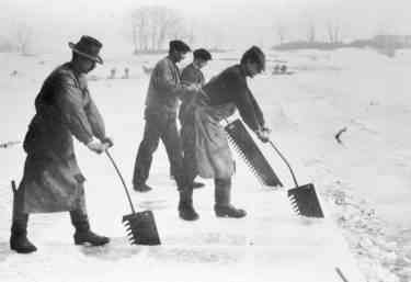 Row of four men using hand-saws on long handles to cut ice in a lake
